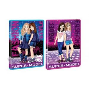 Тека А4 на блискавці, пластикова, з глітером KIDIS , серія SUPER MODEL (дівчата)