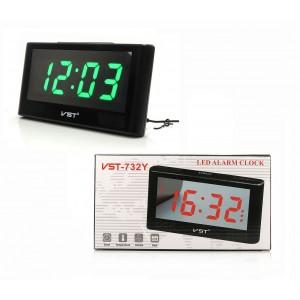 Часы электронные настольные VST-732Y USB и 2 батарейки ААА зеленый индикатор
