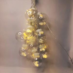 Гирлянда 10 большых шариков прозрачный провод 3 м. тёплый белый