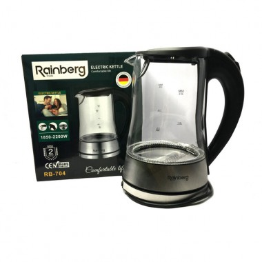 Чайник стекло Reinberg RB-704 220V,18500-2000W 2л. Чорный