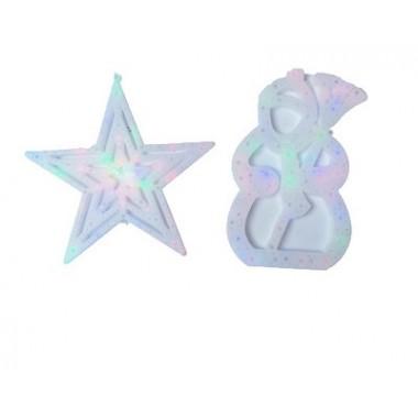 Светодиодная гирлянда декорация фигура на окно Звезда 40*40 с прозрачным проводом
