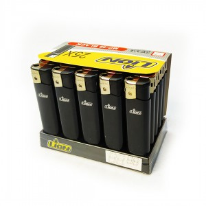 Зажигалка карманная LION MP-49 на кнопке 25шт/уп. Black/Черный (цена за 1шт.)