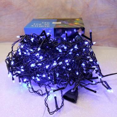 Гирлянда Дождик черный провод прозрачная коническая лампа 7 м 320LED синий