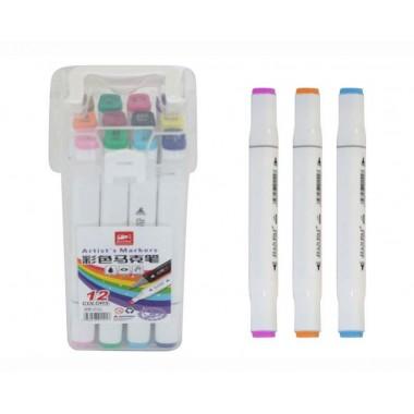 Набір скетч маркерів 12 шт в пластиковому футлярі