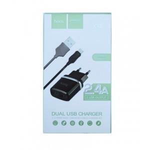 СЗУ 220В-USB micro HOCO C12 черные с кабелем 2,4А