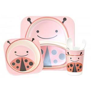 Набор посуды Bamboo kids set 5 предметов  розовый CP7214
