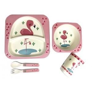 Набор посуды Bamboo kids set 5 предметов розовый CP7208