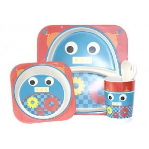 Набор посуды Bamboo kids set 5 предметов розовый-синий CP7218