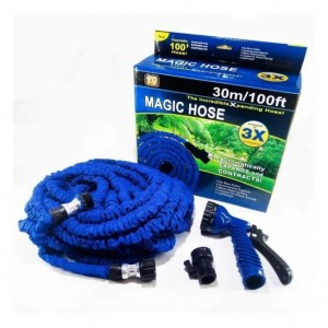 """Шланг растягивающийся поливочный садовый Magic Hose 3/4"""" 30 м. синий"""