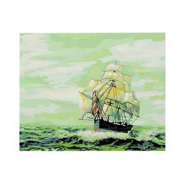 Холст-розмальовка під номерами 40*50см з набором акрилових фарб і пензликами 3 шт, в картонній короб