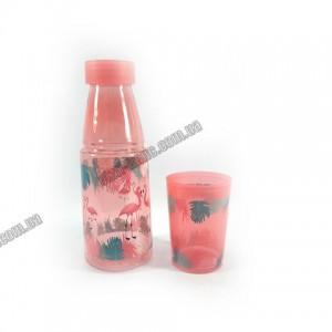 Бутылка детская со стаканом Beijing 350 мл розовый 6688
