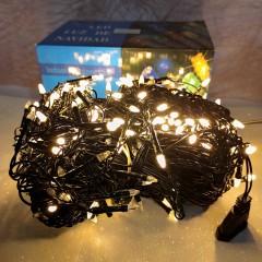 Гирлянда Дождик черный провод прозрачная коническая лампа 7 м 320LED теплый белый