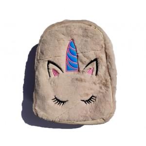 Рюкзак меховой с аппликацией единорог. Ручки и спинка пу. Розовый №10, темно-розовый №12, бежевый №2