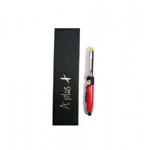 Ручка шар. металл, с подставкой для телефонасо стиусом soft touch малиновый