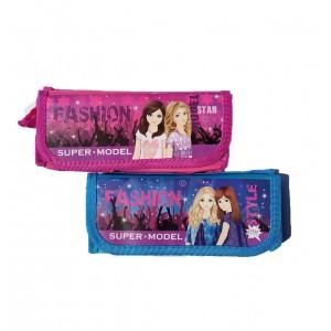 Пенал 1й + гумки, 2 кольори блакитний, малиновий, KIDIS, серія SUPER MODEL (дівчата)