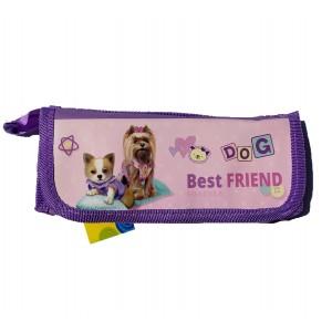 Пенал 1й + гумки, фіолетовий колір з різними   малюнками, KIDIS, серія BEST FRIEND (собачки)