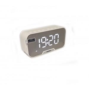 Часы электронные KIMISO мини Bluetooth FM колонка  DC 5V TF CART AUX  белый