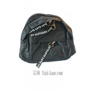 Рюкзак 2 виддиленняи 33 * 26см, дно 13,5 см LOVE Черный