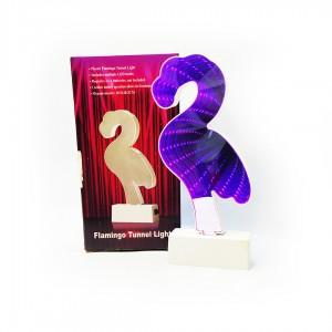 Світильник нічник фламінго дзеркальний 21* 10см, пластиковий. Працює від 2-х пальчикових батарейок А