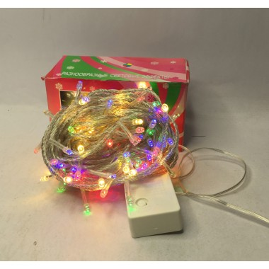 Светодиодная гирлянда 15,5 м 200LED лампочка с прозрачным проводом 8 режимов мульти