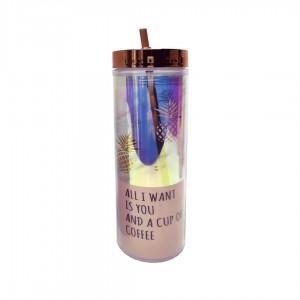 Бутылка для воды Beijing с трубочкой Ананасы 450 мл золото-перламутр JL-4003