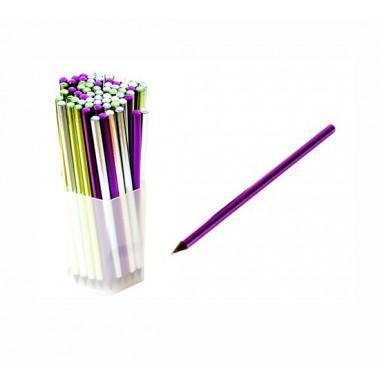 Олівець чорнографітний, корпус з чорного дерева з кольоровою фольгою, з каменем зверху, 72 шт\упак