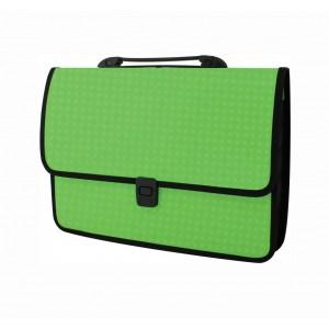 """Портфель  пластиковый А4 Economix E31641-02""""Вышиванка"""" зелёный"""