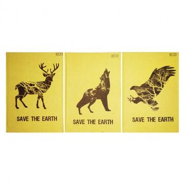 "Блокнот А5, Еко папір - 96арк., тверда обкл. Серія  Save the Earth"""