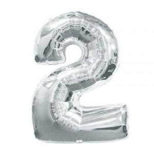 Кулька цифри срібло 45см. номер -2