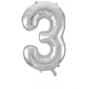 Кулька цифри срібло 45см. номер -3