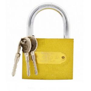 Замок жёлтый, крестовой ключ 63мм.