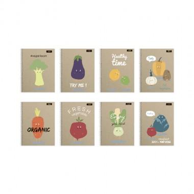 """Блокнот для нотаток ф.А5,  бок. пружина,  80арк., офсет, клітинка """"Серія  Organic"""""""