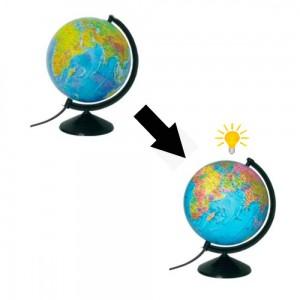 Глобус 22 см физически-политический с подсветкой
