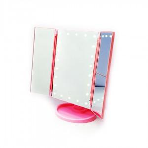 Зеркало настольное с LED подсветкой квадратное 4 в 1 23,5х18х3,5 см цв. Розовый