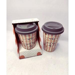 Чашка для кави порцеляновий з силіконовою кришкою, з золотом 400мл, в індивідуальній упаковці