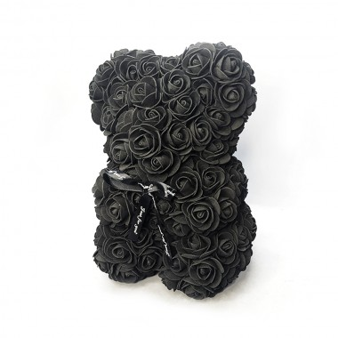 Мишка из искуственных 3D роз 24x16см. черный, розовый, белый