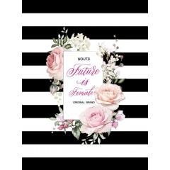 Блокнот А5 Астра на пружине Черные полосы с розами 80 листов условная клетка твердая обложка
