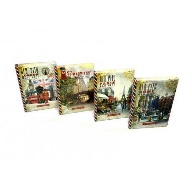 Щоденник 137*197мм. недатований,60г, 7БЦ з поролоном. 320 стор,клітинка, мат.лам.диз.18438-18441