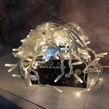 Гирлянда Дождик белый провод 3,3мм с вилкой матовая круглая лампа уличная 3 м120LED теплый белый