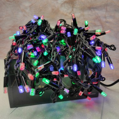 Гирлянда Дождик черный провод 3,3мм с вилкой матовая круглая лампа уличная 120LED (микс) 16шт 120-SH