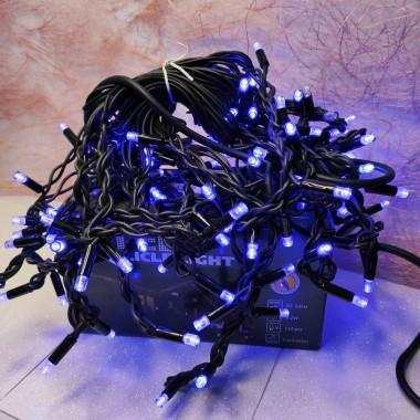 Гирлянда Дождик черный провод 3,3мм с вилкой матовая круглая лампа уличная 120LED (синий) 16шт 120-S
