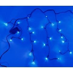 Гирлянда Дождик черный провод прозрачная коническая лампа 3 м 120LED синий