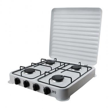 Плита газовая четырёхконфорочная с крышкой D&T DT-6004 размер 500х 500х65мм белая 3,7кг.