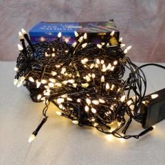 Гирлянда Дождик черный провод с вилкой прозрачная коническая лампа 5 м 240LED теплый белый