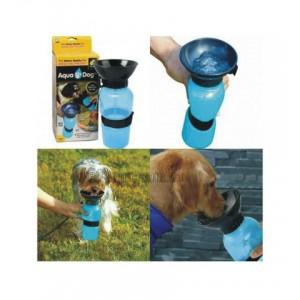 Бутылка для животных с поилкой PET BOTTLE 500 мл, с тарелкой  голубой