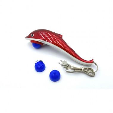 Ручной масажёр Дельфин 28 Вт. 42*13см короб. (3 насадки) цв. красный.