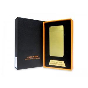 Аккумуляторная электро импульсная дуговая USB зажигалка L-15638 золото