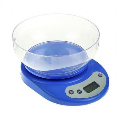 Весы кухонные электронные с чашей KE-2 22*15см. до 7кг цв. синие (2 бат в комплек)
