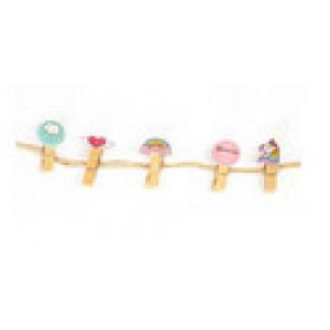 Прищіпки 10 штук з мотузкою 3,5 см, десерти і однороги (Цена за 1шт)