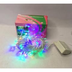 Светодиодная гирлянда 8 м 100LED лампочка с прозрачным проводом 8 режимов мульти